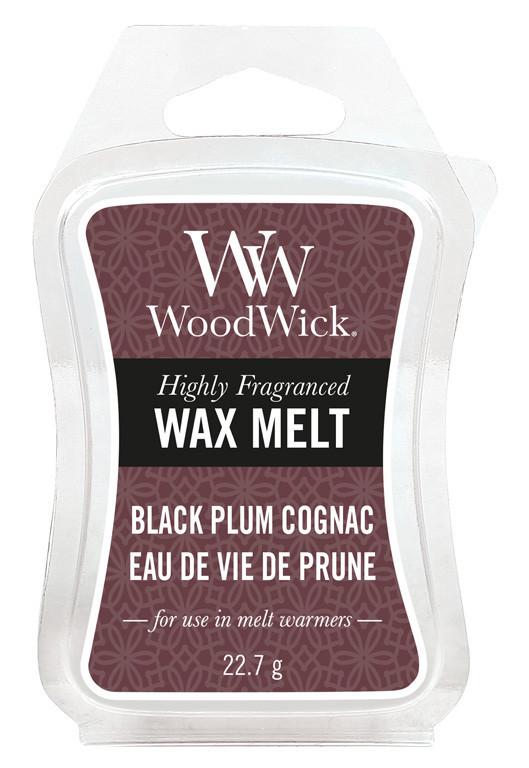 Aromatický vosk, WoodWick Black Plum Cognac, provonění minimálně 8 hod