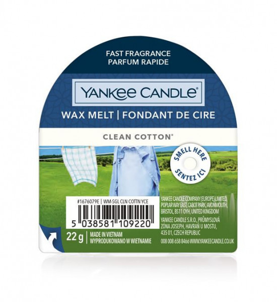 Aromatický vosk, Yankee Candle Clean Cotton, nový, provonění až 8 hod
