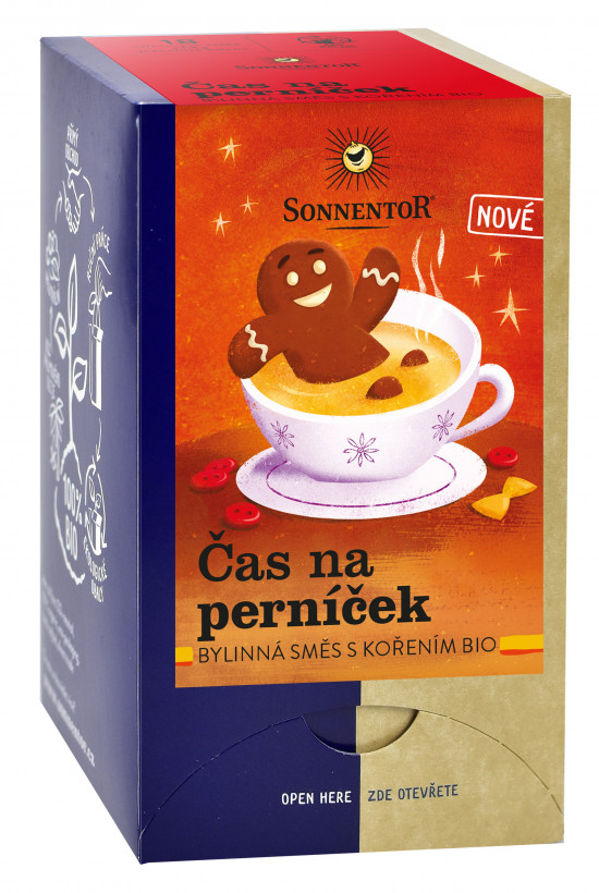 BIO bylinný čaj s kořením, Sonnentor Čas na perníček, porcovaný, 18 sáčků-2190