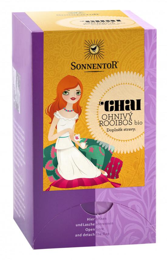 BIO bylinný čaj s kořením, Sonnentor Chai - Ohnivý Rooibos, porcovaný, 20 sáčků