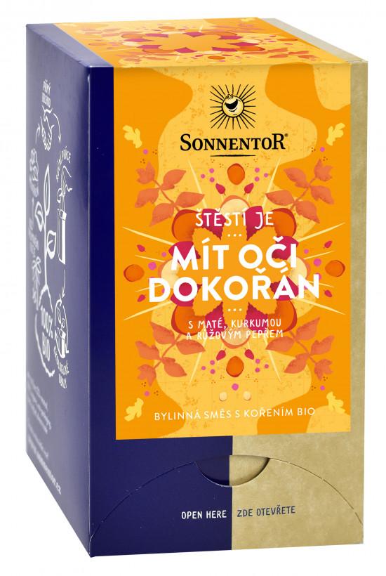 BIO bylinný čaj s kořením, Sonnentor Štěstí je - Otevřít oči dokořán, porcovaný, 18 sáčků