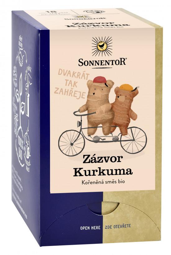 Levně BIO bylinný čaj s kořením, Sonnentor Zázvor Kurkuma, porcovaný, 18 sáčků