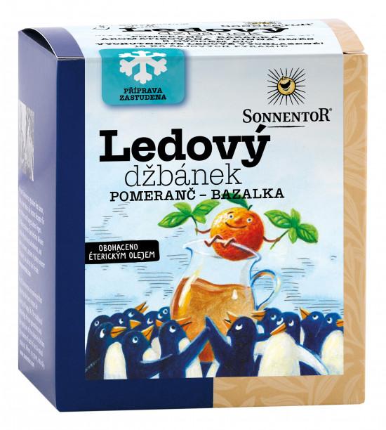 BIO bylinný čaj s ovocem, Sonnentor Ledový džbánek Pomeranč - bazalka, porcovaný, 16 pyramid. sáčků