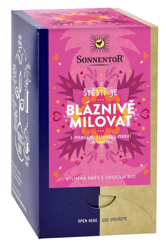 BIO bylinný čaj s ovocem, Sonnentor Štěstí je - Bláznivě milovat, porcovaný, 18 sáčků