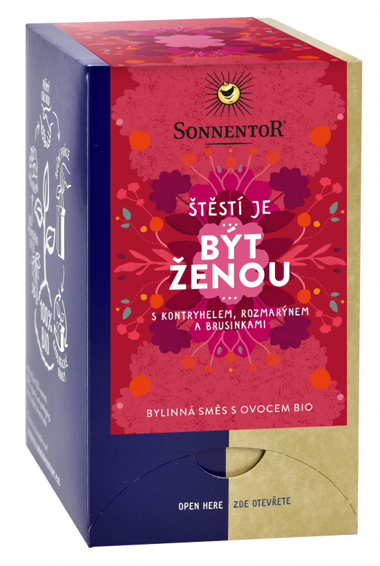 BIO bylinný čaj s ovocem, Sonnentor Štěstí je - Být ženou, porcovaný, 18 sáčků