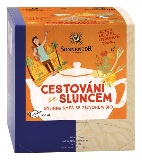 BIO bylinný čaj se zázvorem, Sonnentor Cestování se sluncem, porcovaný, 12 pyramidálních sáčků
