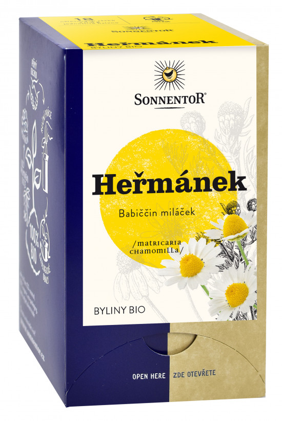 BIO bylinný čaj, Sonnentor Heřmánek, Matricaria chamomilla, porcovaný, 18 sáčků