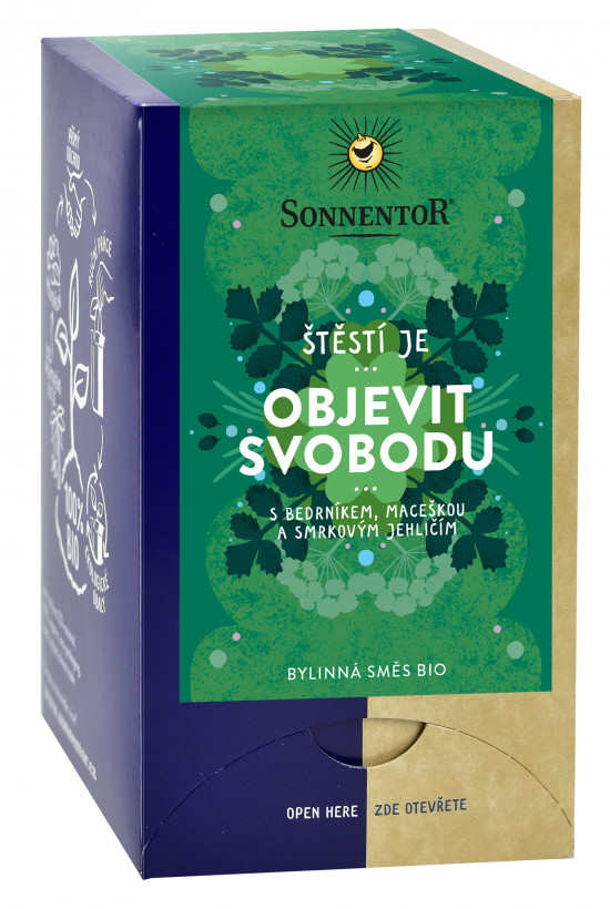 BIO bylinný čaj, Sonnentor Štěstí je - Objevit svobodu, porcovaný, 18 sáčků