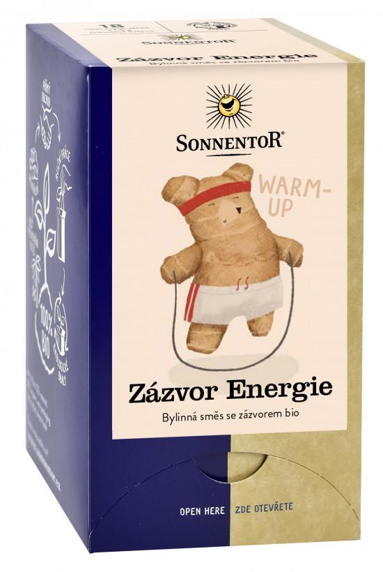 BIO bylinný čaj, Sonnentor Zázvor Energie, porcovaný, 18 sáčků
