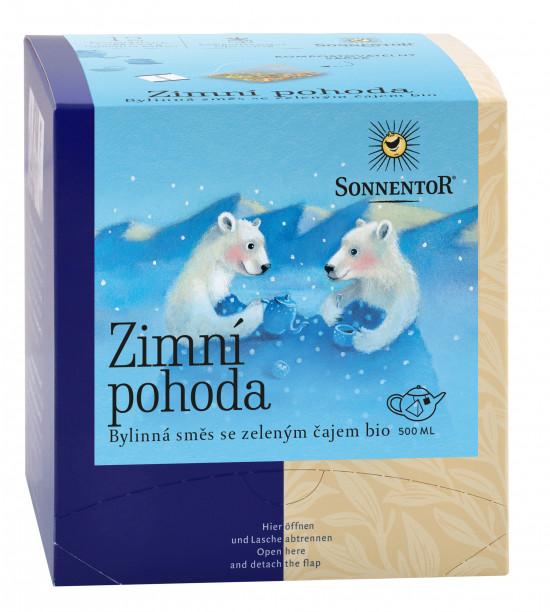 BIO bylinný čaj, Sonnentor Zimní pohoda, obsahuje kofein, porcovaný, 12 pyramidálních sáčků