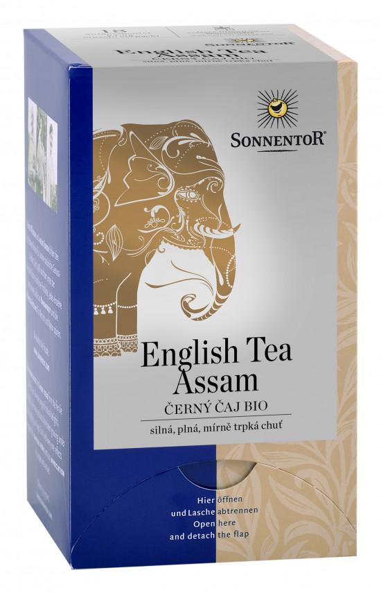 BIO černý čaj, Sonnentor English Tea Assam, porcovaný, 18 sáčků