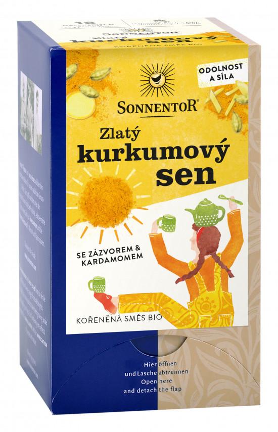 BIO kořeněný čaj se zázvorem, Sonnentor Zlatý kurkumový sen, porcovaný, 18 sáčků-2261
