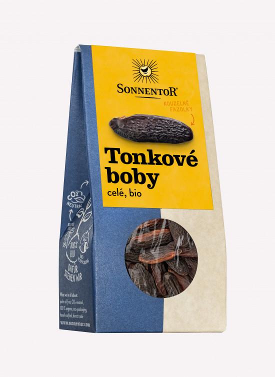 BIO koření, Sonnentor Tonkové boby celé, Dipteryx odorata, krabička, 20 g