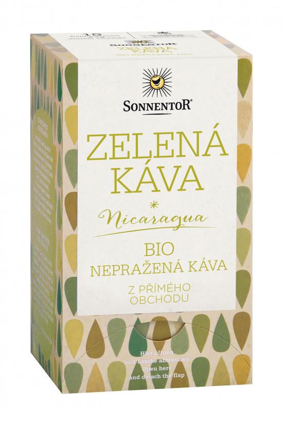 BIO nepražená káva, Sonnentor Zelená káva z Nikaragui, porcovaná, 18 sáčků