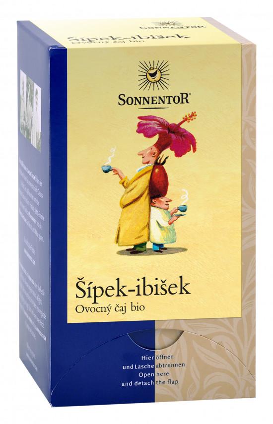 BIO ovocný čaj, Sonnentor Šípek - ibišek, porcovaný, 18 sáčků-2231