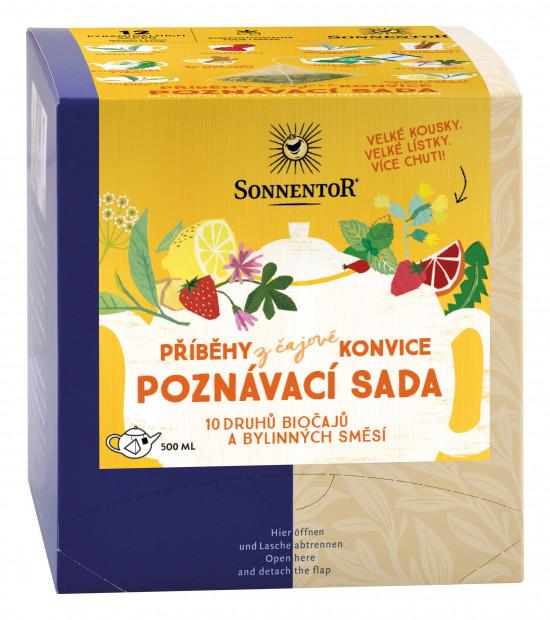 BIO poznávací sada bylinných a ovocných čajů, Sonnentor Příběhy z čajové konvice, 12 pyramid. sáčků-2108