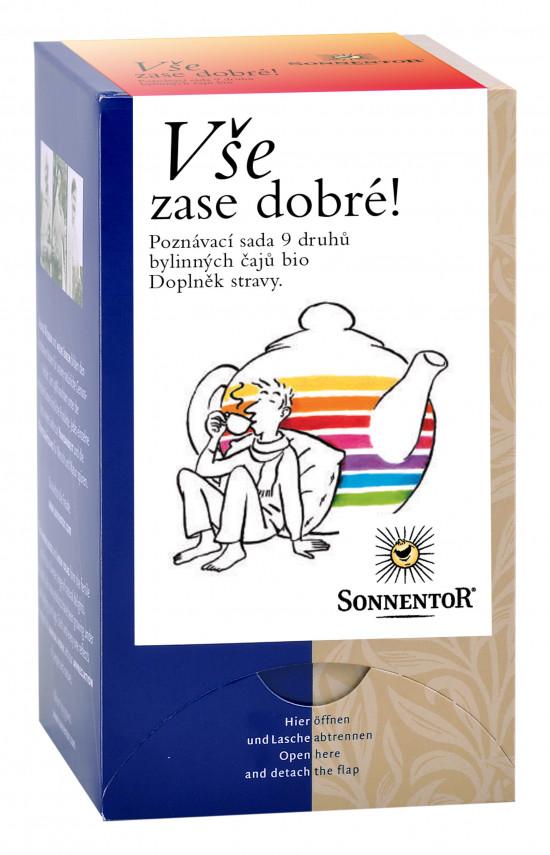 BIO poznávací sada bylinných čajů, Sonnentor Vše zase dobré, porcované, 20 sáčků