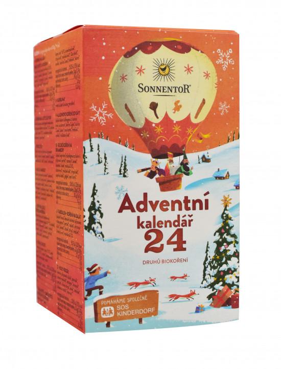 BIO poznávací sada koření a kořenících směsí, Sonnentor Adventní kalendář, krabička, 24 sáčků, 116 g-2211