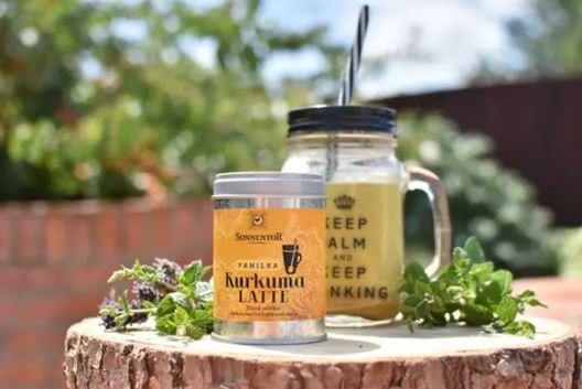 BIO směs koření pro přípravu nápoje, Sonnentor Kurkuma Latte Vanilka - Zlaté mléko, dóza, 60 g-5609