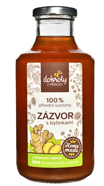 Domácí bylinný sirup, Dobroty z přírody Zázvor s bylinkami, 500 ml