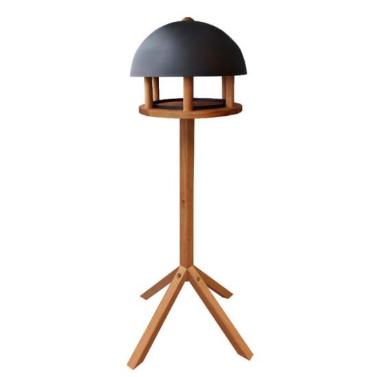 Dřevěné kulaté krmítko pro ptáky na noze, Esschert Design, černá kopule