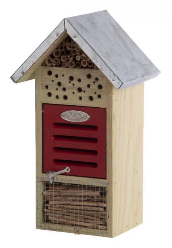 Dřevěný hotel pro hmyz s oplechovanou stříškou, Esschert Design Dům, menší-5486