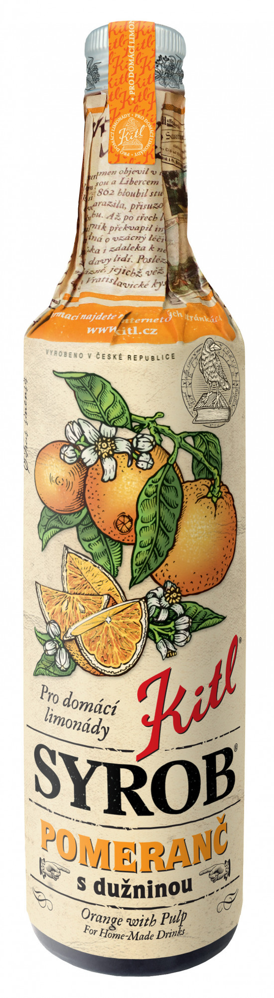 Hustý ovocný sirup, Kitl Syrob Pomeranč s dužninou, 500 ml