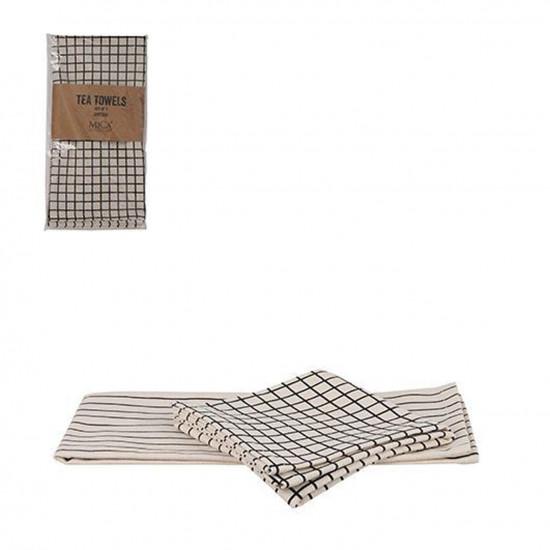 Kuchyňská utěrka Mica COLET, bavlněná, krémovo - černá, 2 ks-12435