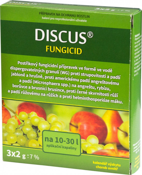 Postřikový přípravek proti strupovitosti a padlí, DISCUS, balení 3 x 2 g