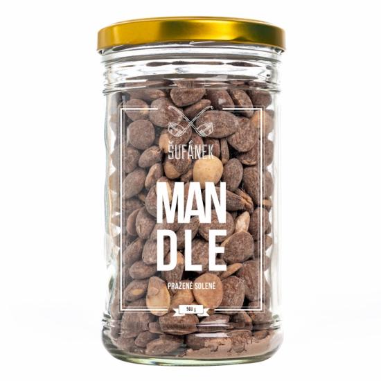 Pražené ořechy, Šufan Mandle solené, dóza sklo, 500 g-3177