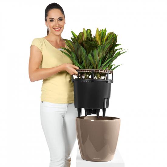 Samozavlažovací květináč Lechuza CLASSICO LS 21, komplet set, černý-2752