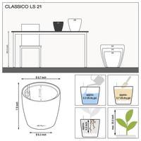 Samozavlažovací květináč Lechuza CLASSICO LS 21, komplet set, stříbrný-2758