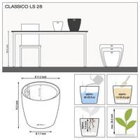 Samozavlažovací květináč Lechuza CLASSICO LS 28, komplet set, stříbrný-2829