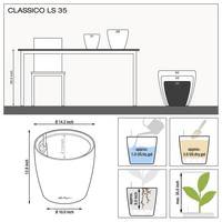 Samozavlažovací květináč Lechuza CLASSICO LS 35, komplet set, černý-2770