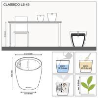 Samozavlažovací květináč Lechuza CLASSICO LS 43, komplet set, stříbrný-2795