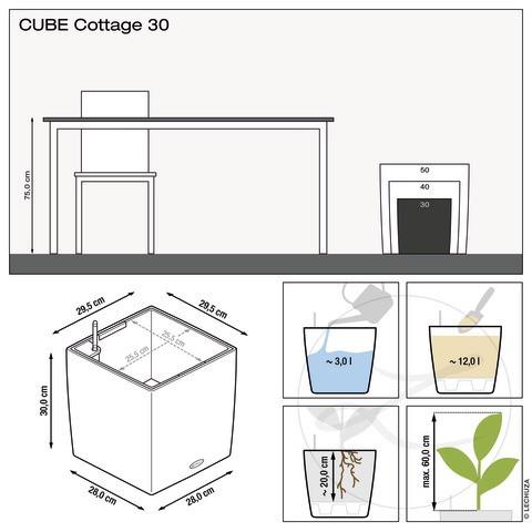 Samozavlažovací květináč Lechuza CUBE Cottage 30, komplet set, bílý-1383