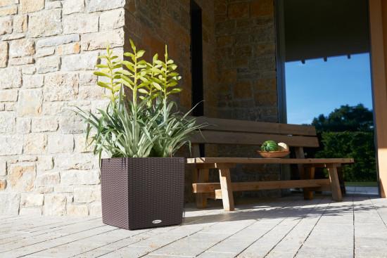 Samozavlažovací květináč Lechuza CUBE Cottage 40, komplet set, moka-1292