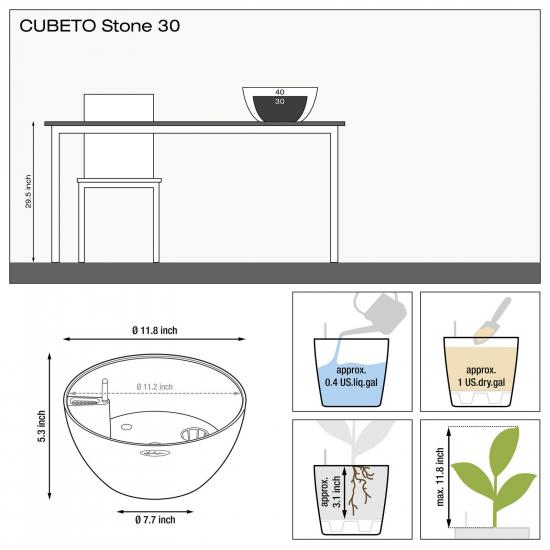 Samozavlažovací květináč Lechuza CUBETO Stone 30, komplet set, šedý-2661