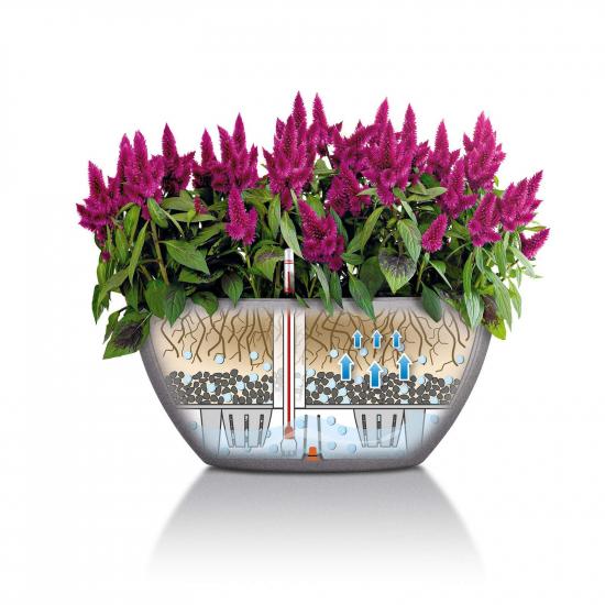 Samozavlažovací květináč Lechuza CUBETO Stone 40, komplet set, pískový-2677
