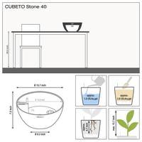 Samozavlažovací květináč Lechuza CUBETO Stone 40, komplet set, šedý-2673