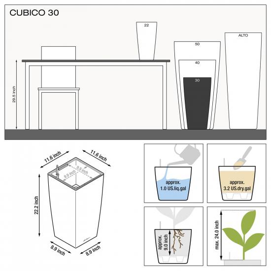 Samozavlažovací květináč Lechuza CUBICO 30, komplet set, červený-2890
