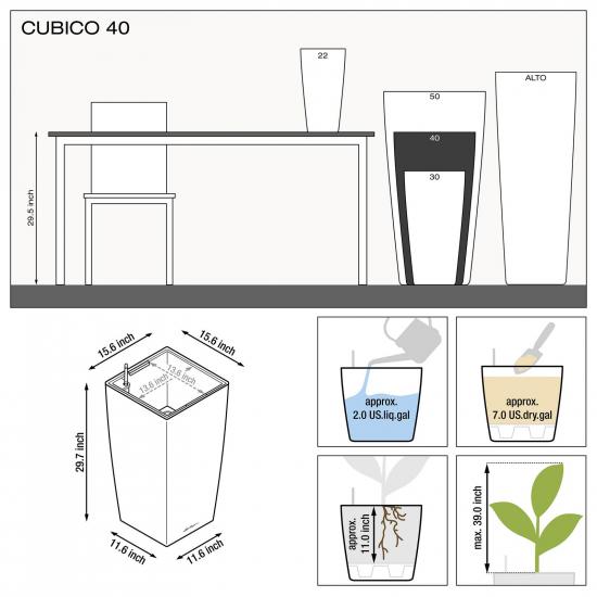 Samozavlažovací květináč Lechuza CUBICO 40, komplet set, bílý-2860