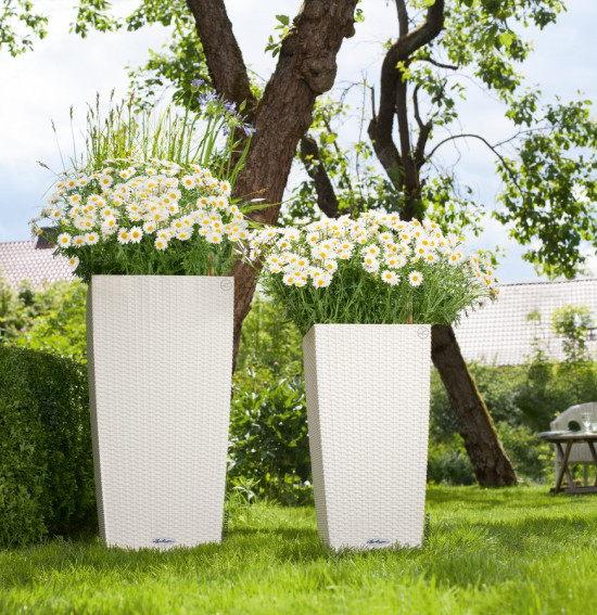 Samozavlažovací květináč Lechuza CUBICO Cottage 30, komplet set, bílý-1436