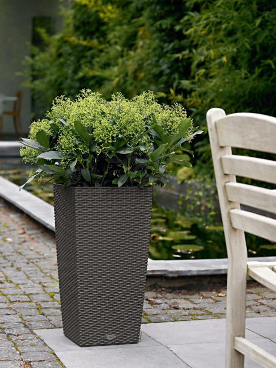 Samozavlažovací květináč Lechuza CUBICO Cottage 30, komplet set, žulová šeď-1316