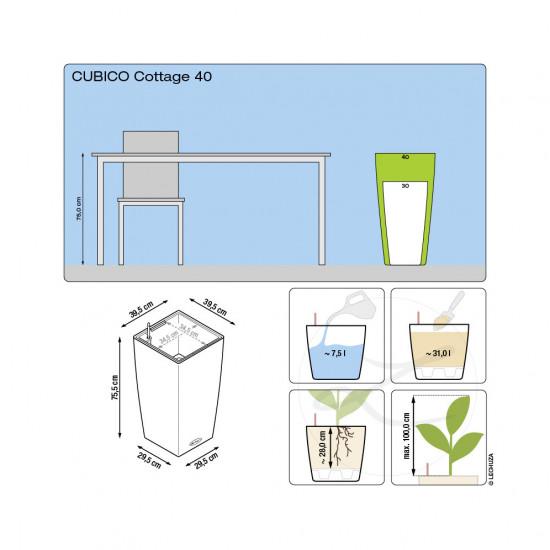 Samozavlažovací květináč Lechuza CUBICO Cottage 40, komplet set, bílý-1366