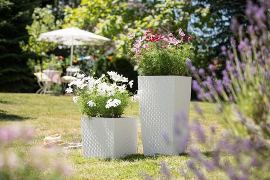 Samozavlažovací květináč Lechuza CUBICO Cottage 40, komplet set, bílý-1379