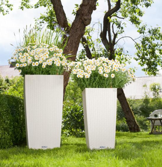 Samozavlažovací květináč Lechuza CUBICO Cottage 40, komplet set, bílý-1437
