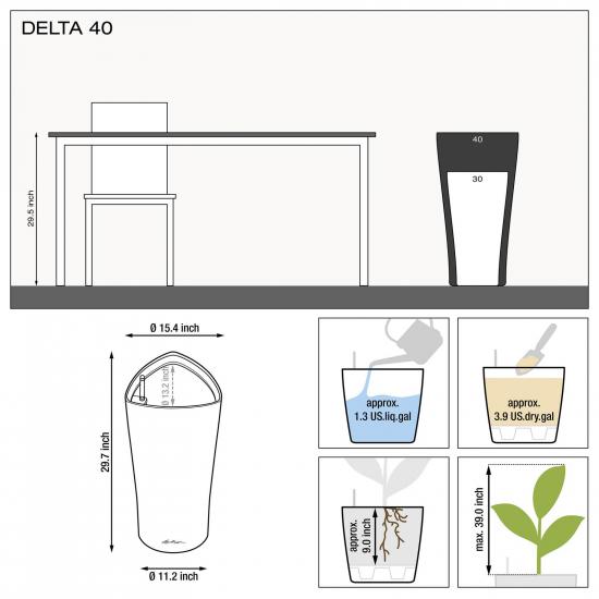 Samozavlažovací květináč Lechuza DELTA 40, komplet set, černý-2927