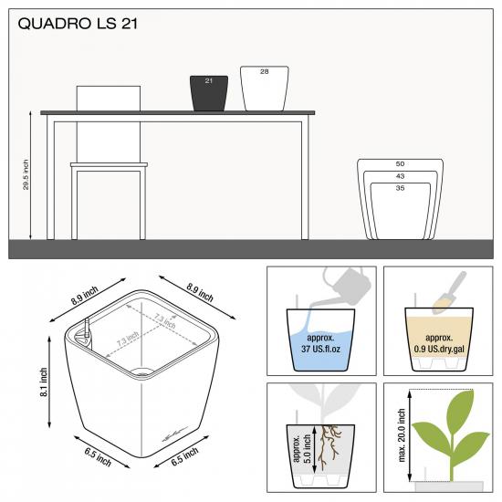 Samozavlažovací květináč Lechuza QUADRO LS 21, komplet set, stříbrný-3003