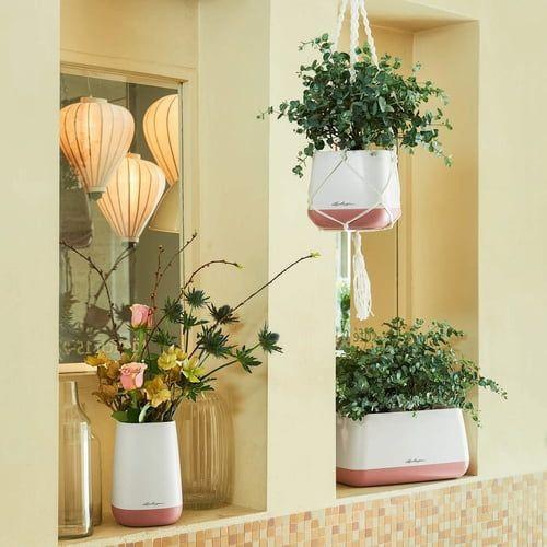 Samozavlažovací květináč Lechuza YULA 17, komplet set, bílo - růžový-6083